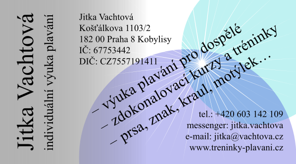 Jitka Vachtová - tréninky plavání